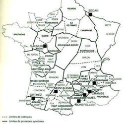 Délimitations des provinces et des colloques au XVIIe siècle