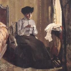Félix Vallotton (1877-1962), Femme cousant dans un intérieur