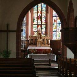 Hunawihr (68) chœur catholique d'une église avec simultaneum