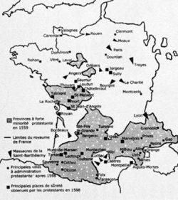 Implantation des minorités protestantes en France.