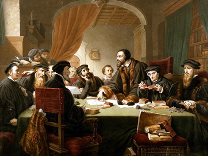 Calvin présidant un colloque à Genève en 1549