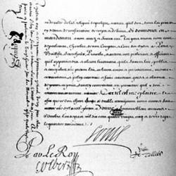 Page des signatures (Colbert, Louvois) sur l'édit de Fontainebleau révoquant l'édit de Nantes