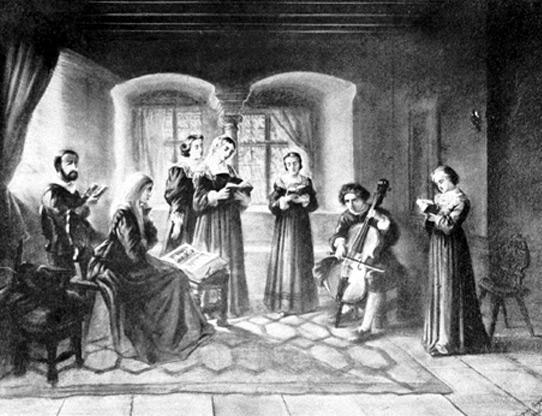 Famille protestante lisant la bible et chantant, vue au XIXe siècle
