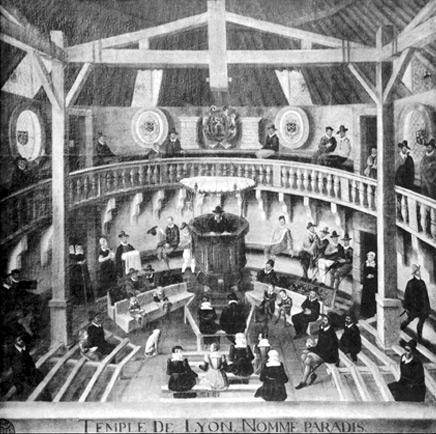 Lyon (69), intérieur du Temple de Paradis (1564)