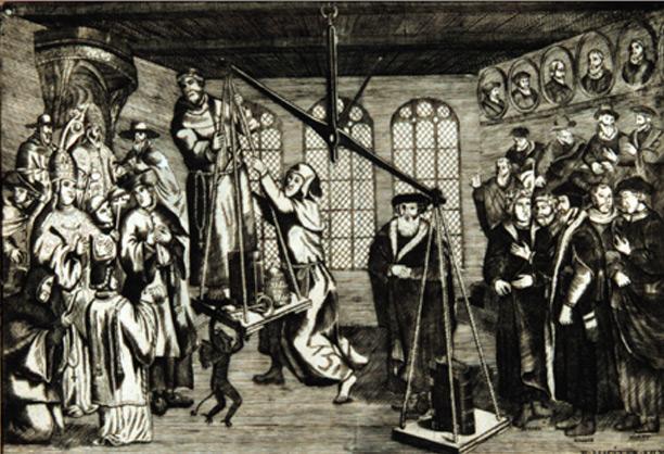 Le poids de la Bible, gravure de Huijeh Allardt, 1562