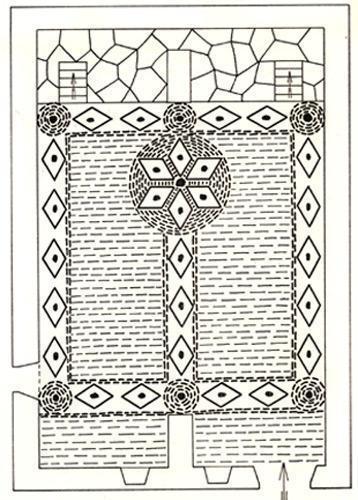 Schéma du pavement d'origine du temple du Collet de Dêze (48)