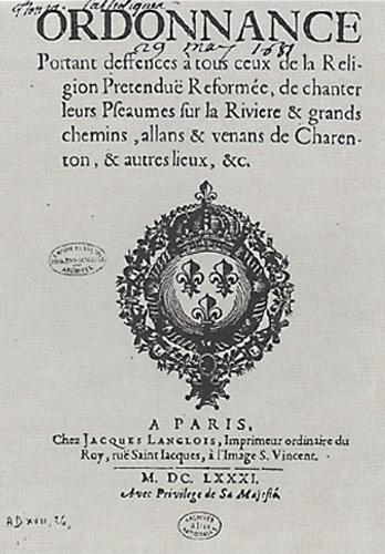 Défense de chanter les psaumes 1681