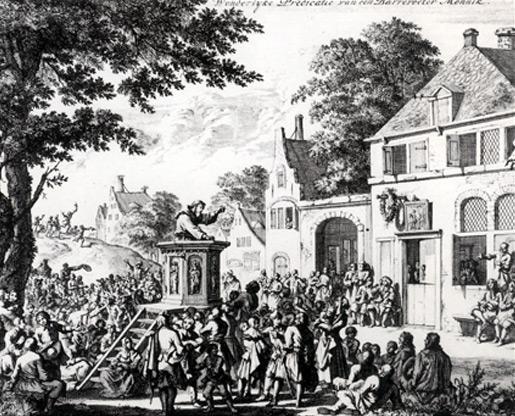 Prédication d'un capucin devant le logis des députés protestants