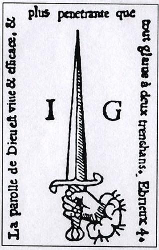 Bible à l'épée, éd. révisée de la Bible d'Olivetan, éd. à Genève par Jean Girard, 1540