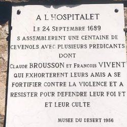 Plaque commémorant l'assemblée de l'Hospitalet en 1689,