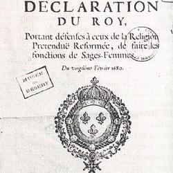 Édit royal de 1680 interdisant aux protestants d'être sages-femmes