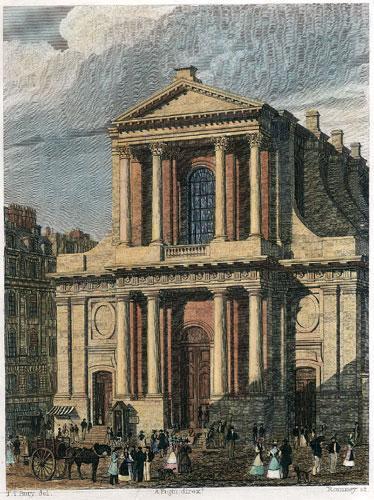 Paris, Église de l'Oratoire du Louvre (1829), gravure de Romney