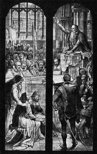 Knox : prédication à Edimbourg (vitrail)