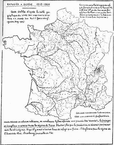 Lieux d'origine des réfugiés français reçus habitants de Genève de 1549 à 1560