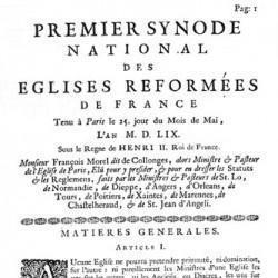 1<sup>er</sup> synode national tenu à Paris le 25 mai 1559