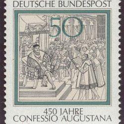 Briefmarke: Lesung des Augsburger Bekenntnisses an Karl V., 1530