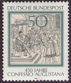 Postage stamp: The Confession of Augsbourg is read to Charles Quint, 1530