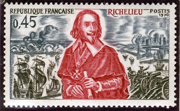 Timbre représentant Richelieu et le siège de La Rochelle