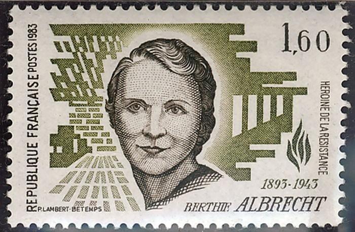 Timbre représentant Bertie Albrecht (1895-1943), résistante