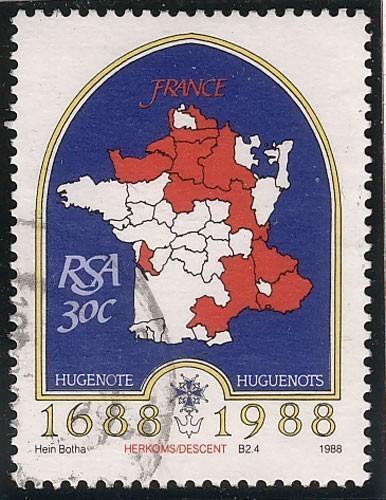 Timbre : les régions d'origine des huguenots français en Afrique du Sud