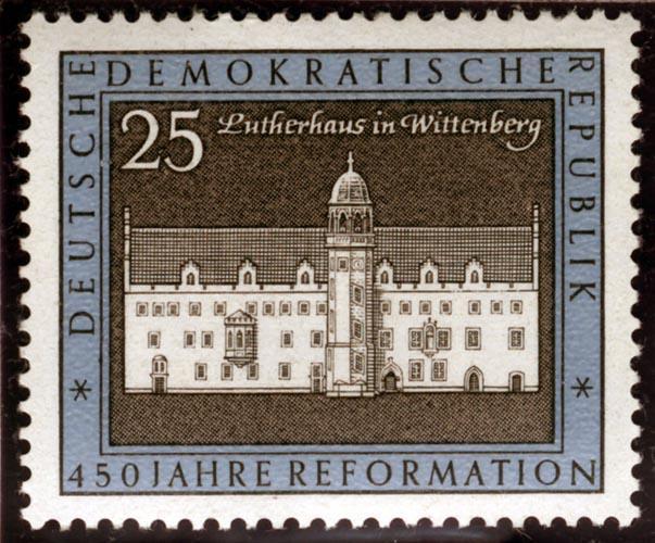 Briefmarke: Darstellung des Hauses Luthers in Wittenberg