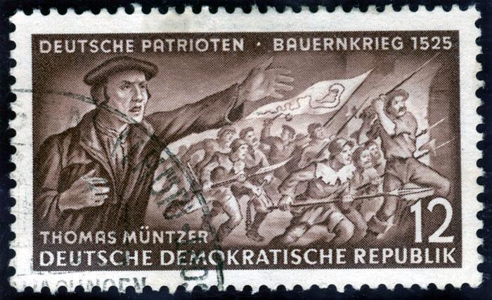 Briefmarke: Darstellung Müntzers und des Bauernkrieges