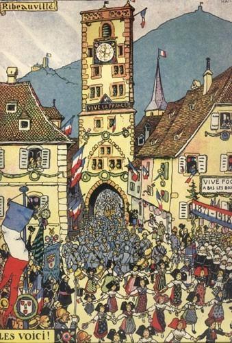 Libération de Ribeauvillé, gravure de Hansi : Les voici, 1918
