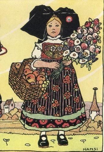 Pour recevoir les poilus, gravure de Hansi, 1918