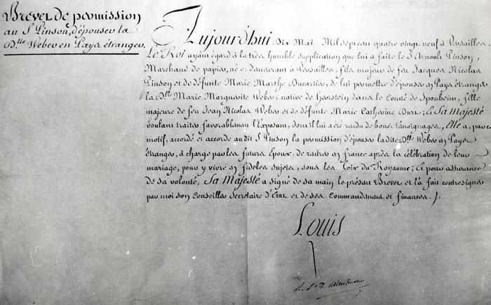 Brevet de permission de mariage protestant dans la chapelle d'une ambassade à Paris