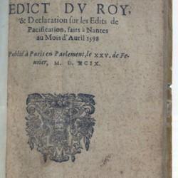 Édit de Nantes, publication de 1599