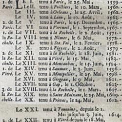 Liste des 26 premiers synodes nationaux des Eglises Réformées de France
