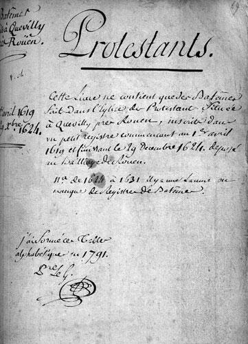 Les actes de baptême du temple de Quevilly, Rouen, 1619 à 1624