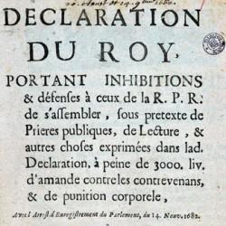 Défense de se rassembler pour des prières et lectures publiques pour ceux de la RPR, 1682