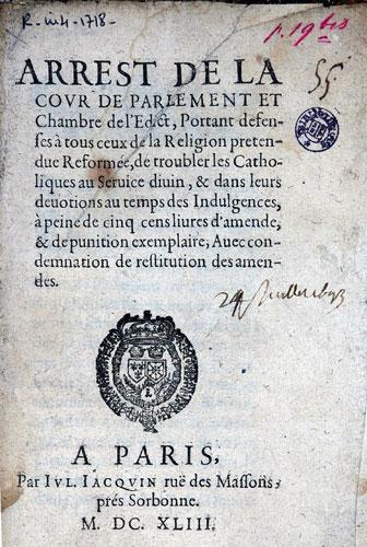 Défense de troubler les catholiques dans leurs dévotions (1643)