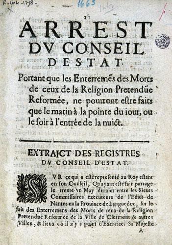 Défense d'enterrer les morts dans la journée (1663)