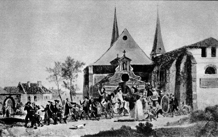 Désaffectation d'une église pendant la Révolution (gravure de Swebach)