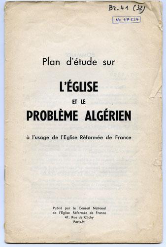 Plan d'étude sur l'Église et le problème algérien