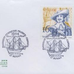 Timbre commémoratif représentant Dugua de Mons