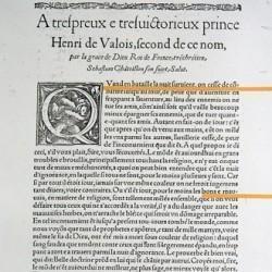 Sébastien Castellion, Lettre à Henri II de Valois