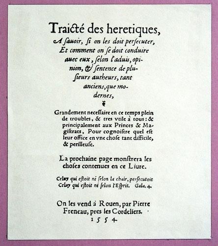 Sébastien Castellion, Traité des hérétiques (1554)