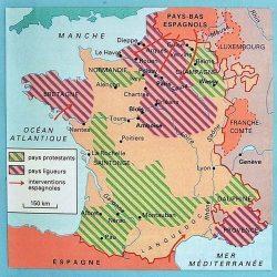 Les régions protestantes en France au XVIe siècle