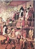 L'inquisition espagnole par Berrugte : Saint Dominique présidant un autodafé