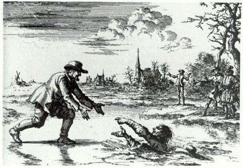 Mennonite sauvant un ennemi de la noyade, par Willems (1569)