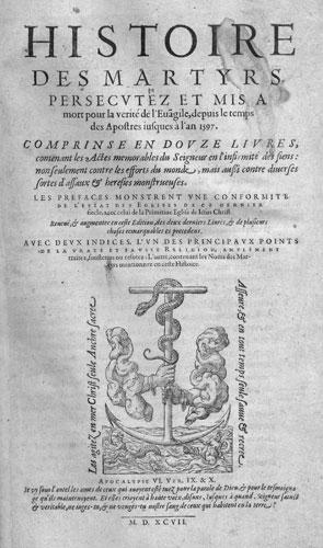 Histoire des Martyrs de Jean Crespin, page de titre