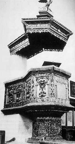 Chaire du XVIIe siècle, temple de Cluj (Transylvanie)