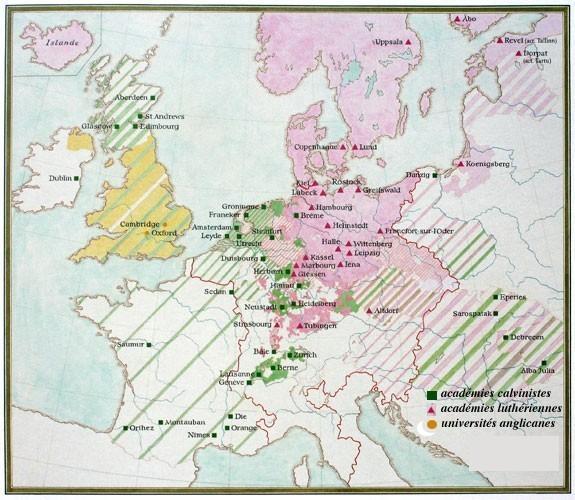 Carte des principales académies protestantes au 17e (carte de R. Flach)