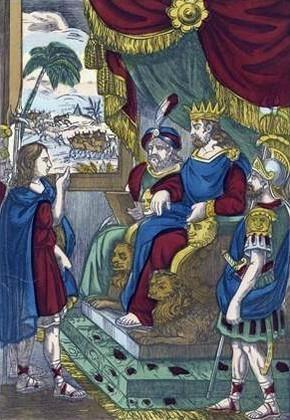 Joseph expliquant les songes du roi Pharaon image d'Epinal (XVIIIe)