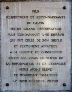 Pierre commémorative posée à l'endroit du supplice de Servet, dans le quartier de Champel à Genève.