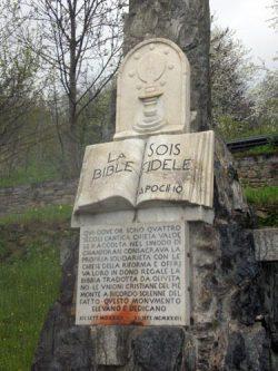 Détail du monument de Chanforan, Val d'Angrogne