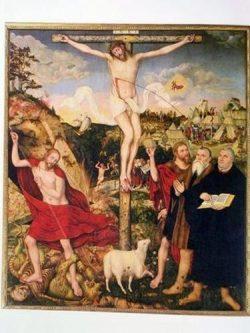 Cranach: le retable de Weimar Luther et Cranach aux pieds du crucifix